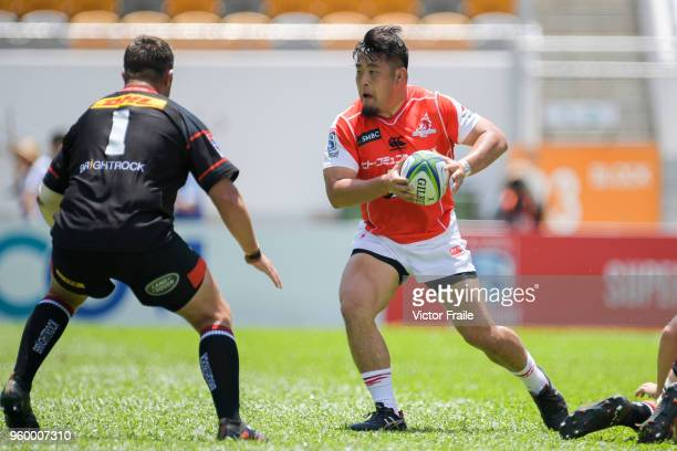 Shintaro Ishihara of Sunwolves moves the ball up against Stormers during the Super Rugby match between Sunwolves and Stormers at Mong Kok Stadium on...