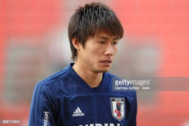 Shintaro Kurumaya of Japan during the Japan Training Session at Stade de Sclessin on March 20 2018 in Liege Belgium