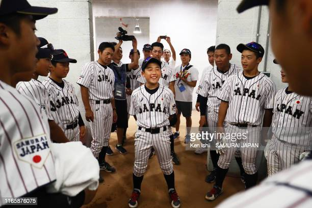 Shintaro Sakamoto of SAMURAI JAPAN talks to teammates in the locker room prior to the WBSC U-12 Baseball World Cup Super Round match between South...