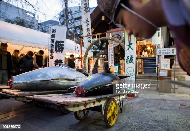 Shinto priest bows during a traditional ceremony for the highest priced fresh bluefin tuna auctioned from the year's first auction at Tsukiji Market...