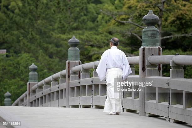 Shinto priest is seen before arrival of the heads of government of the G7 states at the Ise Jingu Shrine on May 26, 2016 in Ise, Japan. In the...