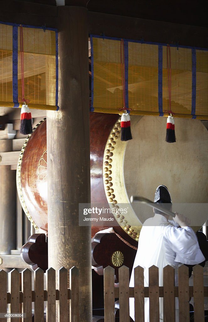 Shinto Priest Playing The Drum at a Ceremony in a Shrine, Harajuku, Tokyo, Japan : Stock Photo