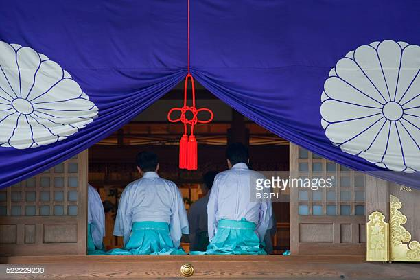 Shinto Priests at Ise Jingu Shrine in Mie Prefecture, Japan