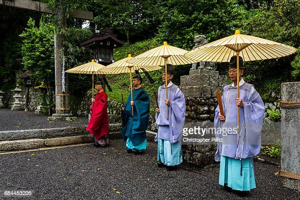 Shinto priests prepare for purification ceremony.