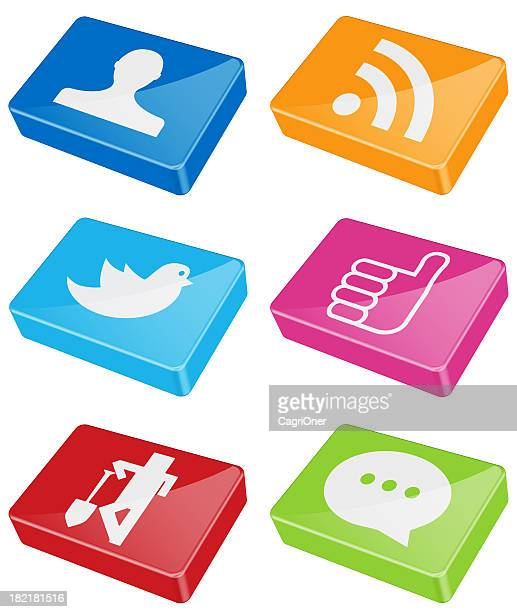 shiny bars of social media icons - social media icons stock pictures, royalty-free photos & images
