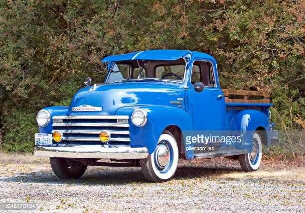 shiny chevy, lopez island, washington state, usa - classic blue stock photos and pictures
