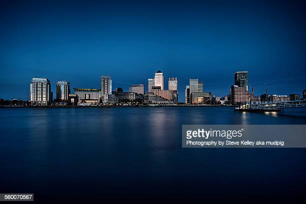 shiny city on the thames - canary wharf stock photos and pictures