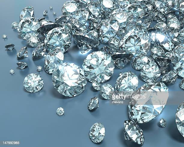 shiny diamonds in various sizes - diamond gemstone stock pictures, royalty-free photos & images