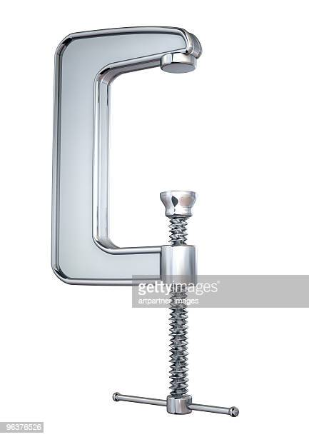 Shiny Metal Clamp on White Background