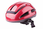 A shiny red bicycle helmet on a white background