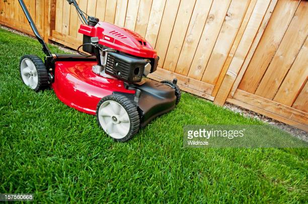 Shiny red lawnmower is ready for business