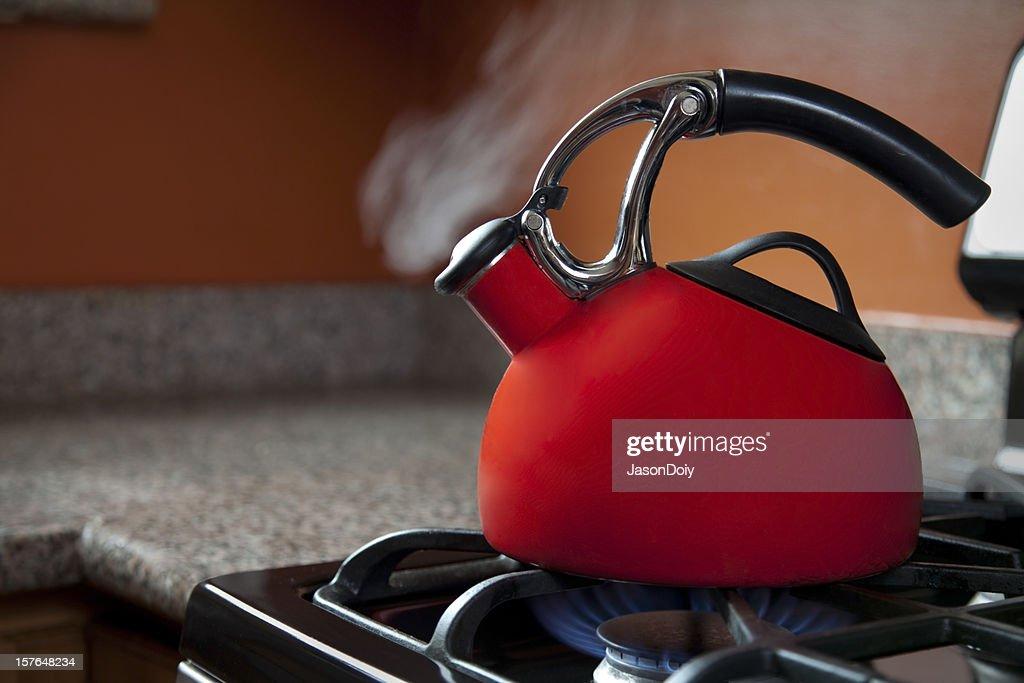 Shiny Red Tea Pot : Stock Photo