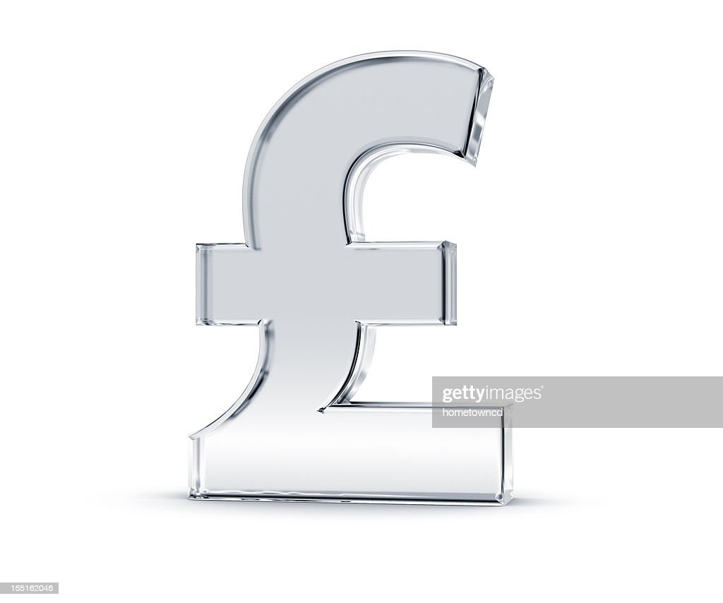 Shiny silver sterling pound symbol in white background : Stock Photo