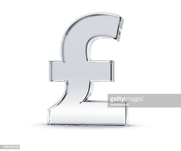 shiny silver sterling pound symbol in white background - pound symbol stock pictures, royalty-free photos & images