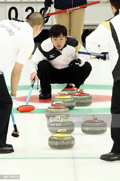 Shinya Abe of Sapporo instructs teammates during Game Three of the Curling Japan Qualifying Tournament between SC Karuizawa and Sapporo at Dohgin...