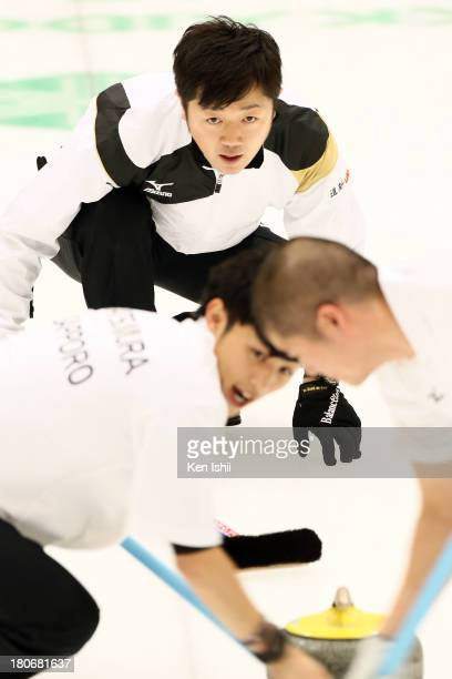 Shinya Abe of Sapporo throws a stone during Game Two of the Curling Japan Qualifying Tournament between SC Karuizawa and Sapporo at Dohgin Curling...