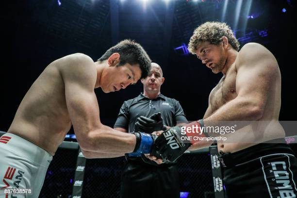 Shinya Aoki and Ben Askren prepare for their main event title bout at ONE Championship Immortal Pursuit at the Singapore Indoor Stadium on November...