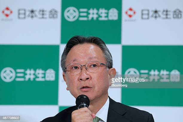 Shinya Arisue president of Mitsui Life Insurance Co speaks during a joint news conference with Nippon Life Insurance Co in Tokyo Japan on Friday Sept...