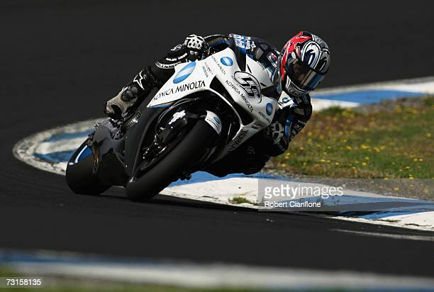 Shinya Nakano of Japan and Konica Minolta in action during MotoGP preseason testing at the Phillip Island Circuit on January 31 2007 in Phillip...