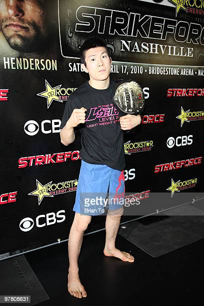 Shinya ''Tobikan Judan'' Aoki attends ''StrikeForce'' MMA fighters at the open media workout at the Legends MMA Training Center on March 17, 2010 in...