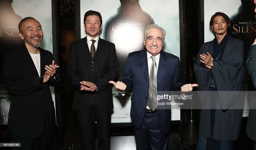 Shinya Tsukamoto, Tadanobu Asano, Martin Scorsese and Yosuke Kubozuka attend the premiere of Paramount Pictures' 'Silence' at the Directors Guild Of America on January 5, 2017 in Los Angeles, California.
