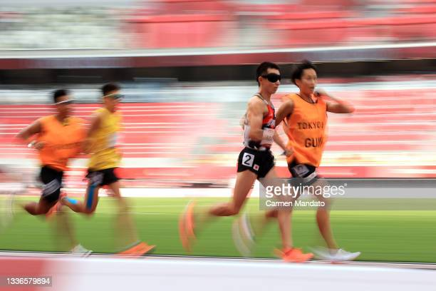 Shinya Wada of Team Japan competes in Men's 5000m - T11 final on day 3 of the Tokyo 2020 Paralympic Games at the Olympic Stadium on August 27, 2021...
