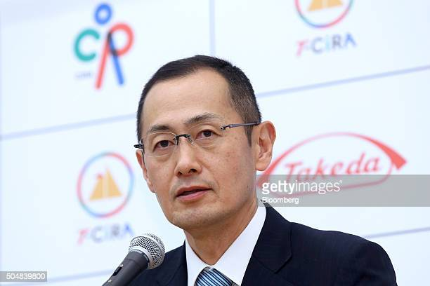 Shinya Yamanaka director of the Center for iPS Cell Research and Application and Nobel laureate speaks during a joint news conference with Christophe...