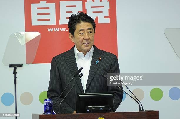 Shinzo Abe, Japan's Prime Minister and President of the Liberal Democratic Party , holds a press conference after the ruling coalition of the LDP and...