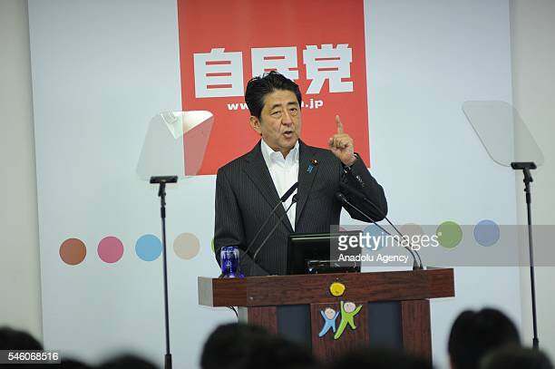 Shinzo Abe, Japan's Prime Minister and President of the Liberal Democratic Party gestures during a press conference after the ruling coalition of the...
