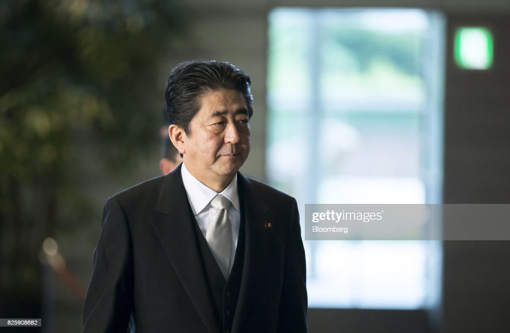 Shinzo Abe, Japan's prime minister, arrives at the Prime Minister's official residence in Tokyo, Japan, on Thursday, Aug. 3, 2017. Abe reshuffled his ministers and party officials after a slump in popularity and a humiliating local election defeat. Photographer: Tomohiro Ohsumi/Bloomberg via Getty Images