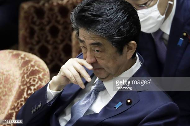 Shinzo Abe, Japan's prime minister, attends a budget committee session at the lower house of parliament in Tokyo, Japan, on Tuesday, April 28, 2020....