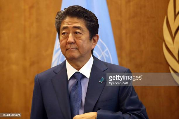 Shinzo Abe Japan's Prime Minister attends a meeting with Ant—nio Guterres the SecretaryGeneral of the United Nations during the 73rd United Nations...