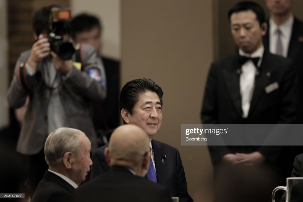 Shinzo Abe, Japan's prime minister, attends an event hosted by the Research Institute of Japan in Tokyo, Japan, on Tuesday, Dec. 19, 2017. Abe said he wants take ties with China to a new level. Photographer: Kiyoshi Ota/Bloomberg via Getty Images