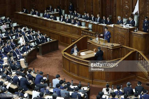 Shinzo Abe, Japan's prime minister, delivers his policy speech during an extraordinary session at the lower house of parliament in Tokyo, Japan, on...