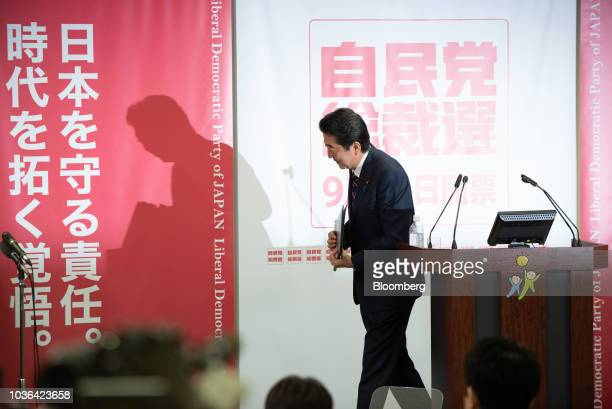 Shinzo Abe Japan's prime minister departs a news conference at the Liberal Democratic Party's headquarters in Tokyo Japan on Thursday Sept 20 2018...