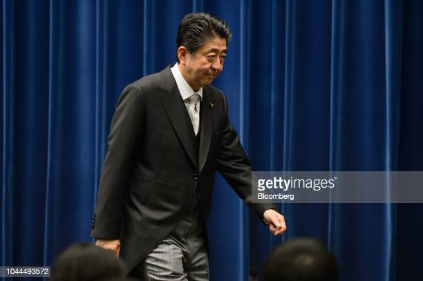 Shinzo Abe Japan's prime minister departs following a news conference at the Prime Minister's official residence in Tokyo Japan on Tuesday Oct 2 2018...