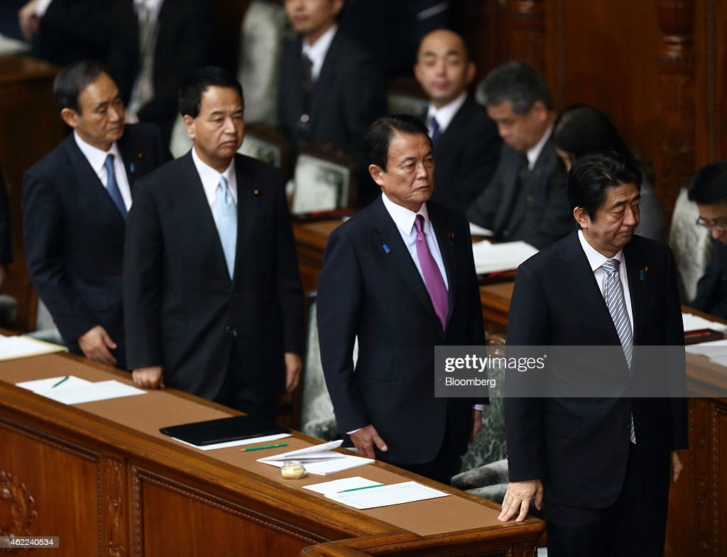 Japan Prime Minister Shinzo Abe And Finance Minister Taro Aso Attend The Year's First Session At National Diet