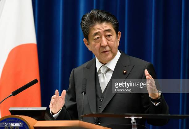 Shinzo Abe Japan's prime minister gestures as he speaks during a news conference at the Prime Minister's official residence in Tokyo Japan on Tuesday...