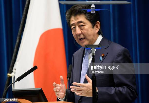 Shinzo Abe Japan's prime minister speaks during a news conference at the prime minister's official residence in Tokyo Japan on Friday July 20 2018...