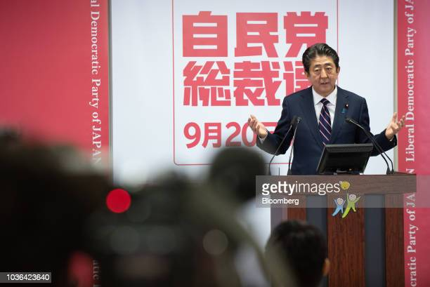 Shinzo Abe Japan's prime minister gestures while speaking during a news conference at the Liberal Democratic Party's headquarters in Tokyo Japan on...