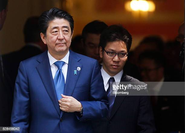 Shinzo Abe Japan's prime minister left exits number 10 Downing Street in London UK on Thursday May 5 2016 Abe discussed JapaneseEuropean relations at...