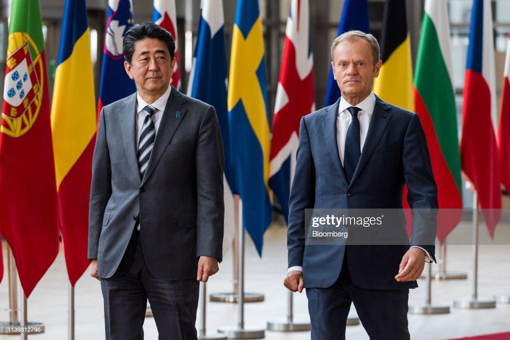 BEL: Japan's Prime Minister Shinzo Abe at EU-Japan Trade Summit