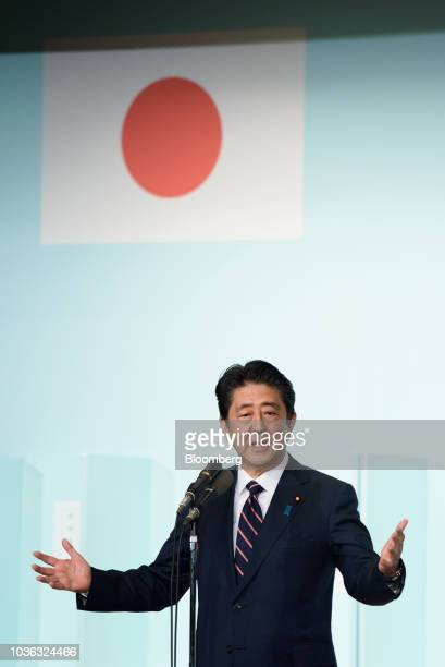 Shinzo Abe Japan's prime minister speaks after after winning the Liberal Democratic Party's presidential election at its headquarters in Tokyo Japan...
