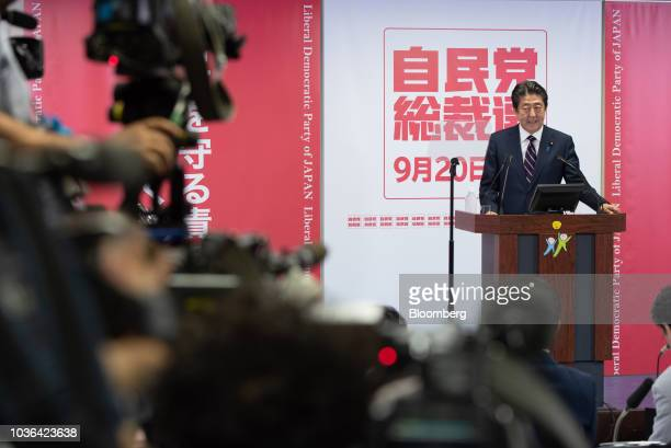 Shinzo Abe Japan's prime minister speaks during a news conference at the Liberal Democratic Party's headquarters in Tokyo Japan on Thursday Sept 20...