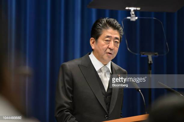Shinzo Abe Japan's prime minister speaks during a news conference at the Prime Minister's official residence in Tokyo Japan on Tuesday Oct 2 2018 Abe...