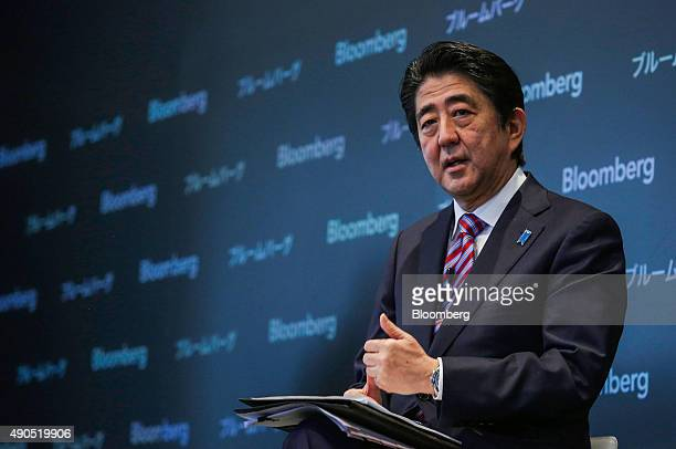 Shinzo Abe Japan's prime minister speaks during the Japan Finance Forum event in New York US on Tuesday Sept 29 2015 Abe pledged to push for further...