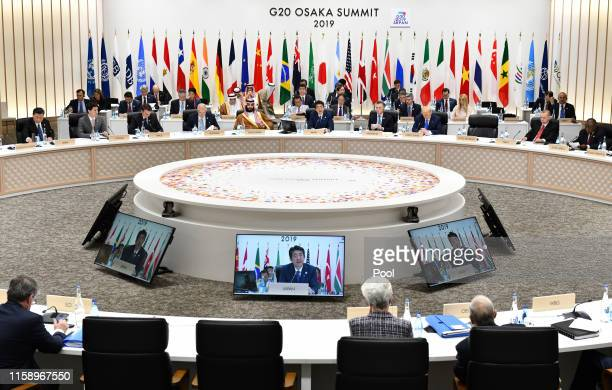 Shinzo Abe, Japan's prime minister speaks during the session 3 at the G20 summit on June 29, 2019 in Osaka, Japan. U.S. President Donald Trump and...