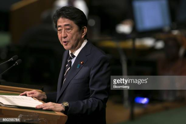 Shinzo Abe Japan's prime minister speaks during the UN General Assembly meeting in New York US on Wednesday Sept 20 2017 Abe stepped up his rhetoric...
