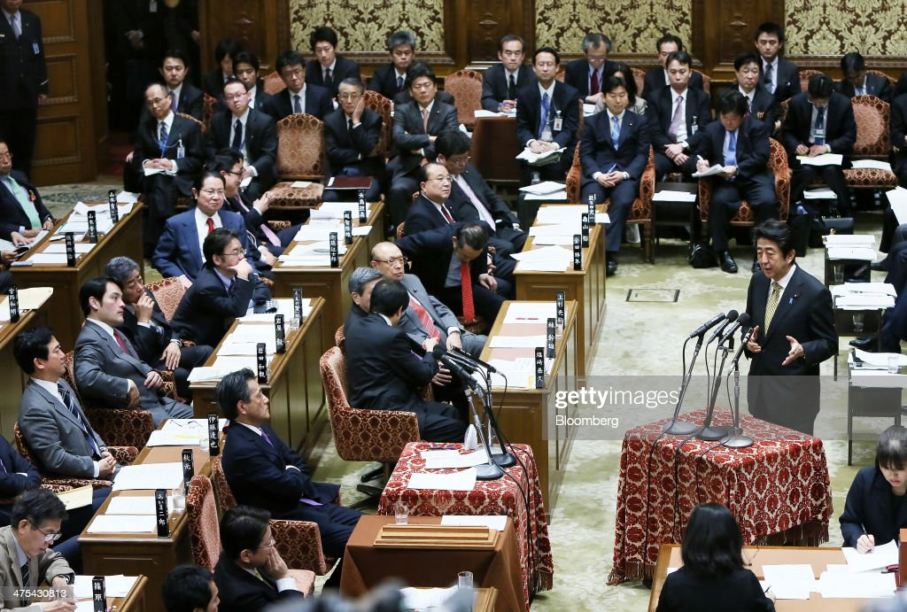 Japan's Prime Minister Shinzo Abe Attends A Budget Committee At Diet : News Photo