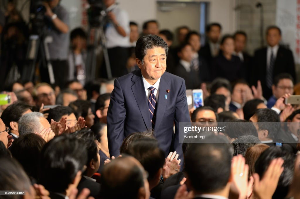 Japan's Ruling Party Leadership Vote As Abe Set to Extend Six-Year Run in Power : News Photo